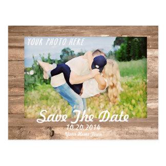 Économies en bois le blanc de date carte postale