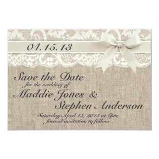Économies enes ivoire de mariage de dentelle et de carton d'invitation 8,89 cm x 12,70 cm