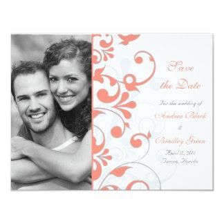 Économies florales abstraites la carte de date carton d'invitation 10,79 cm x 13,97 cm