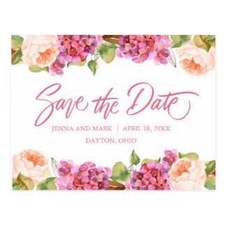 Économies florales animées la carte de date -
