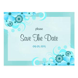 Économies florales bleues de mariage d'Aqua léger Carte Postale