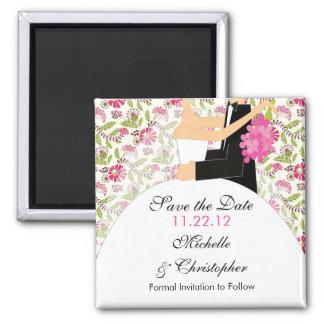Économies florales de jeune mariée et de marié magnet carré