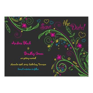 Économies florales de mariage de griffonnage au carton d'invitation  12,7 cm x 17,78 cm