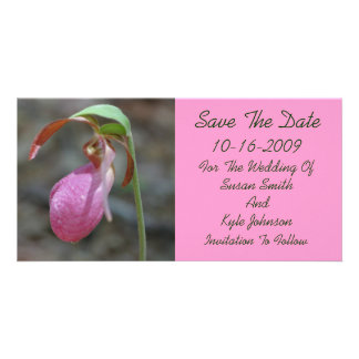 Économies florales de mariage de Madame rose panto Cartes De Vœux Avec Photo