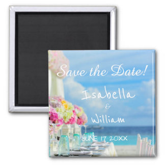 Économies florales élégantes d'été de plage magnet carré