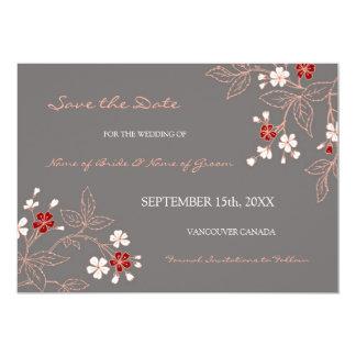 Économies florales grises vintages de mariage la carton d'invitation  12,7 cm x 17,78 cm