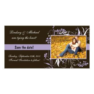 Économies florales le mariage de date - pourpre photocarte