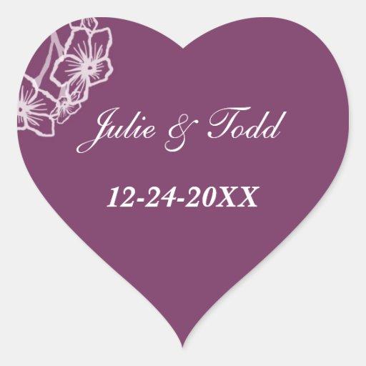 Économies florales modernes pourpres de mariage la autocollants en cœur