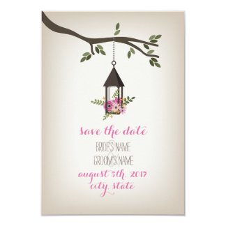 Économies florales roses d'arbre de lanterne la carton d'invitation 8,89 cm x 12,70 cm