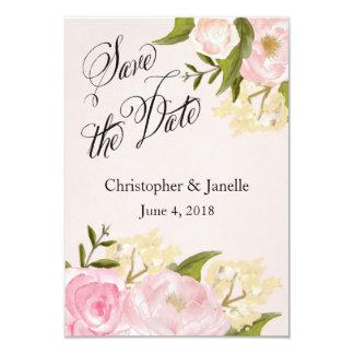 Économies florales roses la date carton d'invitation 8,89 cm x 12,70 cm