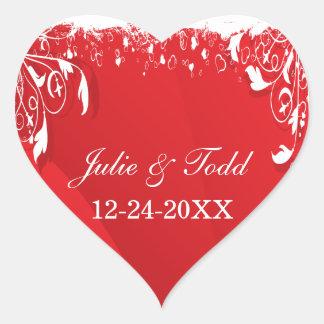 Économies florales rouges et blanches de mariage sticker cœur