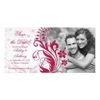 Économies florales rouges et blanches de mariage l cartes avec photo