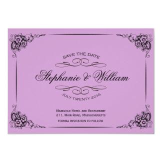 Économies florales vintages pourpres la carte de invitation