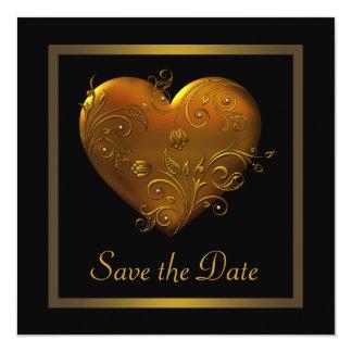 Économies gothiques de mariage d'or de noir de carton d'invitation  13,33 cm