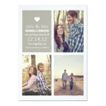 Économies grises de coeur les annonces de photo de carton d'invitation  12,7 cm x 17,78 cm