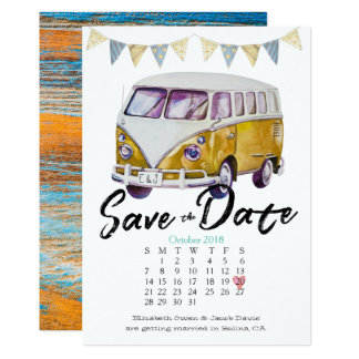 Économies hippies de mariage la date carton d'invitation  12,7 cm x 17,78 cm