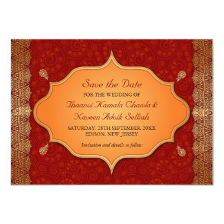 Économies indiennes dorées de cadre de bord la carton d'invitation  11,43 cm x 15,87 cm