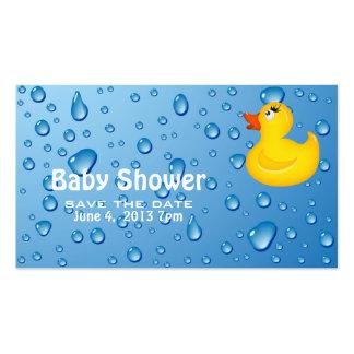 Économies jaunes de baby shower de Duckie la date Carte De Visite Standard