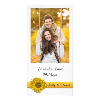 Économies jaunes de mariage de rayure de tournesol carte avec photo