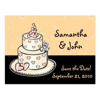 Économies mignonnes de gâteau de mariage la date cartes postales