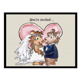 Économies mignonnes de mariage de coeur rose les c carte postale