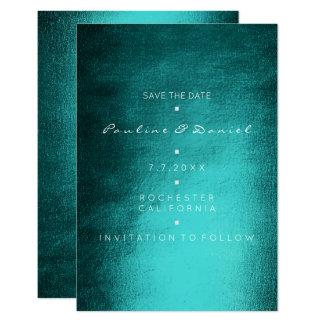 Économies minimales le tropical turquoise gris carton d'invitation 8,89 cm x 12,70 cm