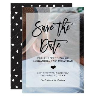 Économies modernes de mariage la photo de la date carton d'invitation  12,7 cm x 17,78 cm