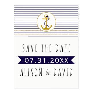 Économies nautiques de mariage barrées par ancre carte postale