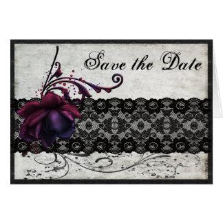 Économies noires de mariage de dentelle la date cartes de vœux