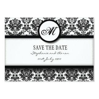 Économies noires et blanches de monogramme de carton d'invitation  12,7 cm x 17,78 cm