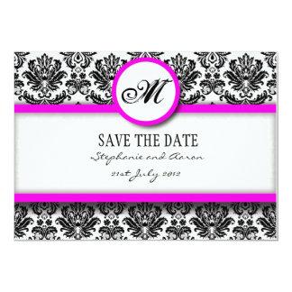 Économies noires et roses de monogramme de damassé carton d'invitation  12,7 cm x 17,78 cm