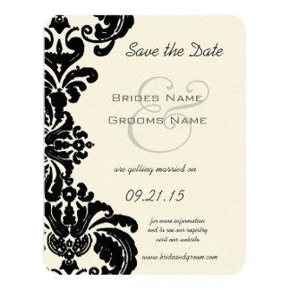 Économies noires vintages de mariage damassé la carton d'invitation 10,79 cm x 13,97 cm