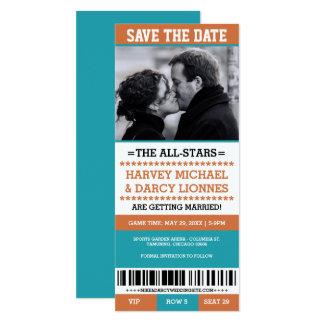 Économies oranges et bleues de billet de sports la carton d'invitation  10,16 cm x 23,49 cm