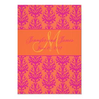 Économies oranges fuchsia de damassé le monogramme carton d'invitation  12,7 cm x 17,78 cm