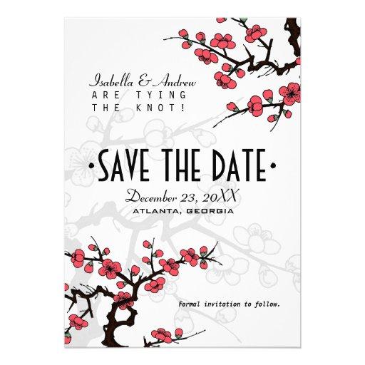 Économies orientales de mariage de fleurs de ceris cartons d'invitation personnalisés