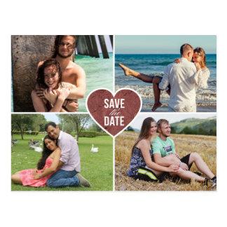 Économies roses de mariage de coeur d'amour d'or carte postale