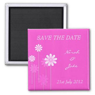 Économies roses de mariage de marguerite l'aimant  magnet carré