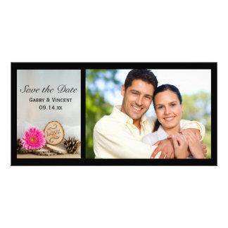 Économies roses rustiques de mariage de région cartes avec photo