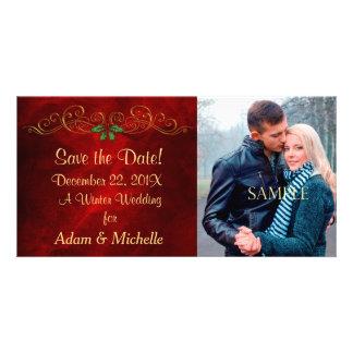 Économies rouges de mariage d hiver de houx la cartes avec photo