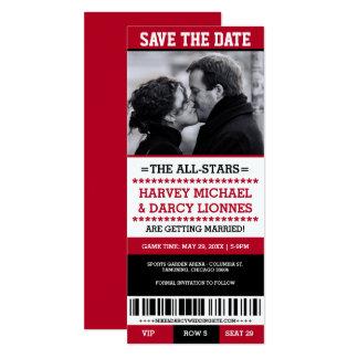 Économies rouges et noires de billet de sports la carton d'invitation  10,16 cm x 23,49 cm