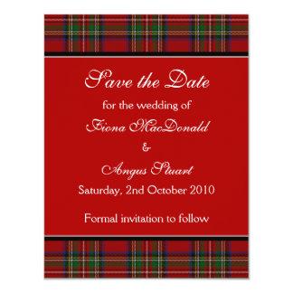 Économies royales de mariage de tartan Stuart la Carton D'invitation 10,79 Cm X 13,97 Cm