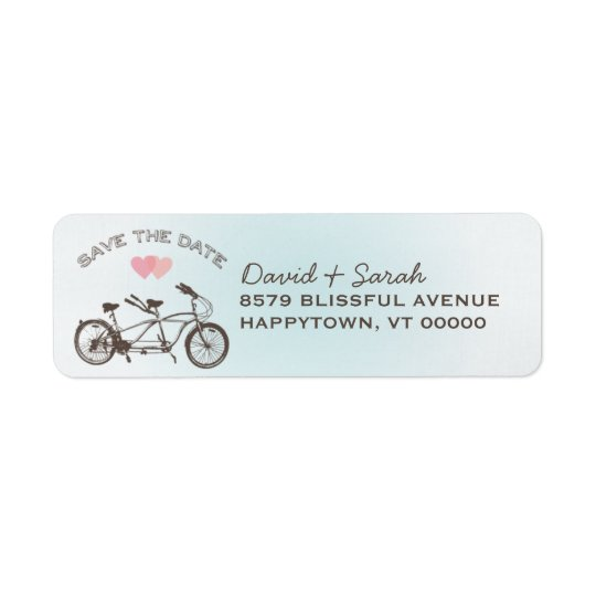 Économies tandem bleues de bicyclette l'étiquette étiquette d'adresse retour