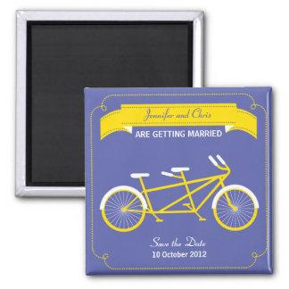Économies tandem de vélo (jaune/bleu) la date aimant