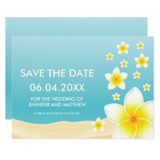 Économies tropicales de mariage de Plumeria blanc Carton D'invitation 8,89 Cm X 12,70 Cm