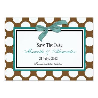 Économies turquoises de point de polka de Brown la Carton D'invitation 12,7 Cm X 17,78 Cm