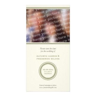 Économies vertes de mariage de cercle le faire-par cartes avec photo