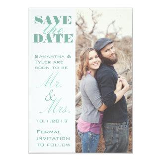 Économies vertes en bon état de photo la date carton d'invitation  12,7 cm x 17,78 cm