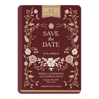 Économies vintages de livre de bibliothèque la carton d'invitation  12,7 cm x 17,78 cm