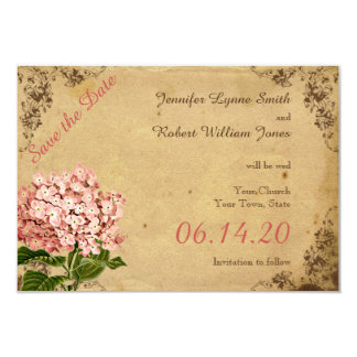 Économies vintages de mariage d'hortensia la date carton d'invitation 8,89 cm x 12,70 cm