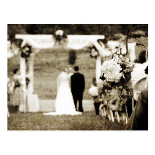 Économies vintages de mariage la date carte postale